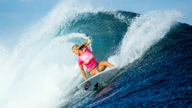 U.S. surfer Bethany Hamilton in action at the Fiji Womens Pro at Tavarua on May 31, 2016. One-armed American surfer Bethany Hamilton sealed third place in the Fiji Women's Pro on Tuesday after beating some of the world's best to make the semi-finals. Hamilton, whose left arm was bitten off in a shark attack in 2003, entered the event at Tavarua as a wildcard rated little chance of making an impact. But the 26-year-old from Hawaii reached the final four with an incredible giant-killing run.